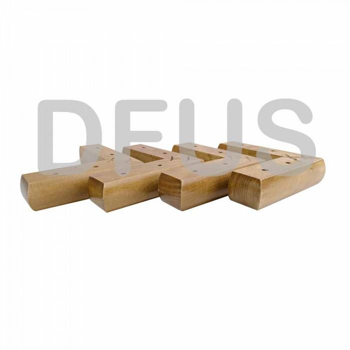 X4 Oak Finish Solid Wooden L Shape, Feet For Furniture Legs